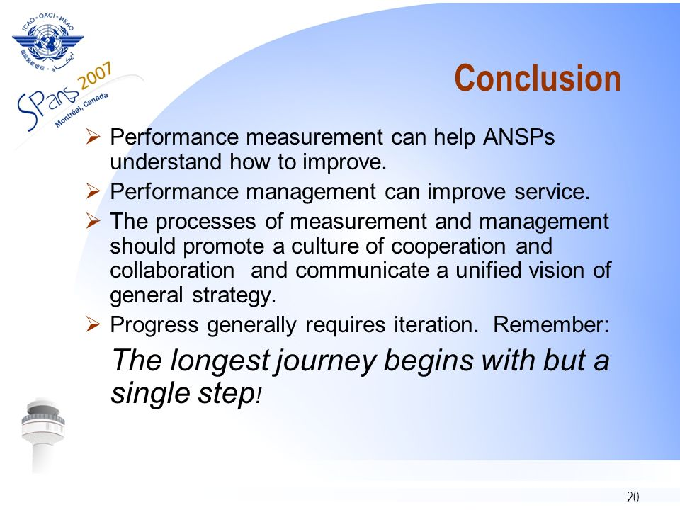 20 Conclusion Performance measurement can help ANSPs understand how to improve.