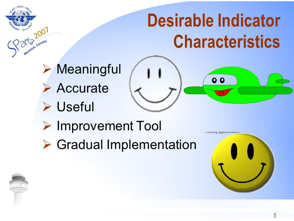 5 Desirable Indicator Characteristics Meaningful Accurate Useful Improvement Tool Gradual Implementation