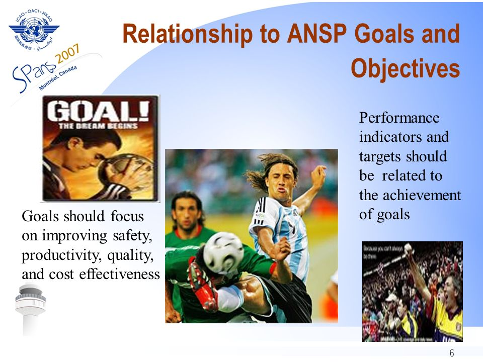 6 Relationship to ANSP Goals and Objectives Goals should focus on improving safety, productivity, quality, and cost effectiveness Performance indicators and targets should be related to the achievement of goals