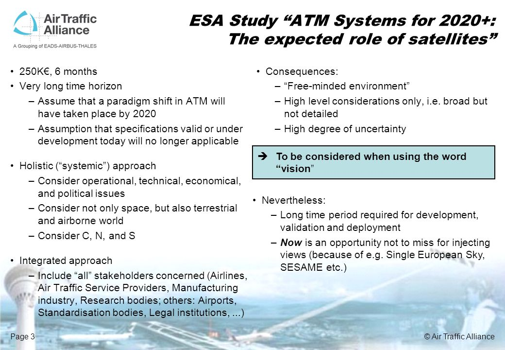 Page 3© Air Traffic Alliance ESA Study ATM Systems for 2020+: The expected role of satellites 250K, 6 months Very long time horizon –Assume that a par