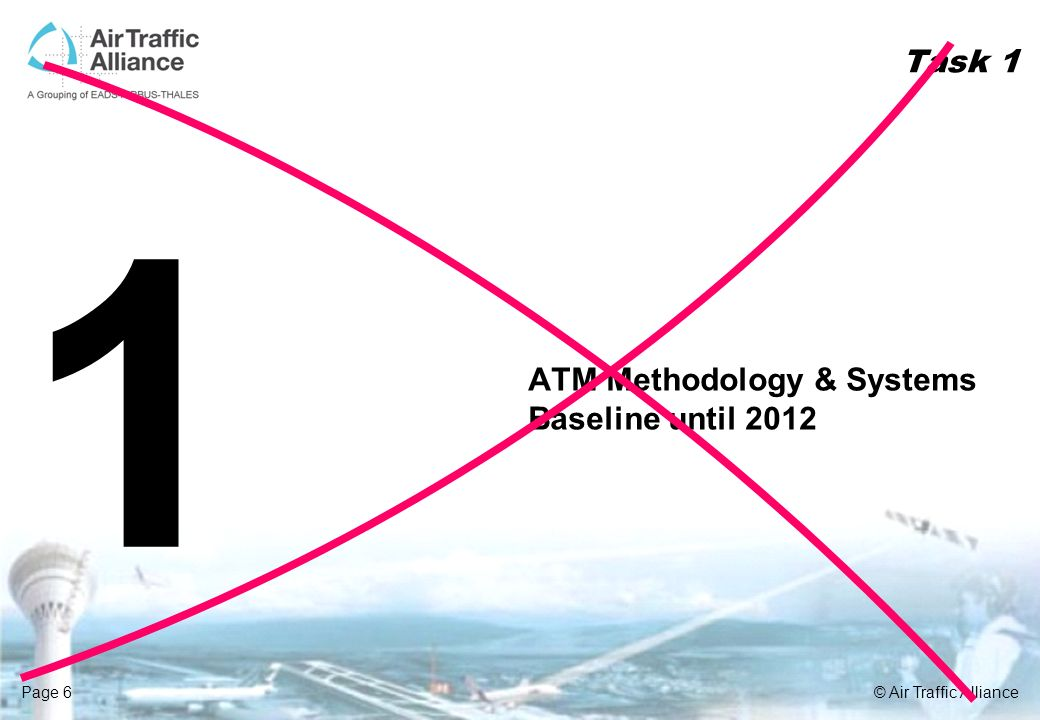 Page 6© Air Traffic Alliance Task 1 1 ATM Methodology & Systems Baseline until 2012
