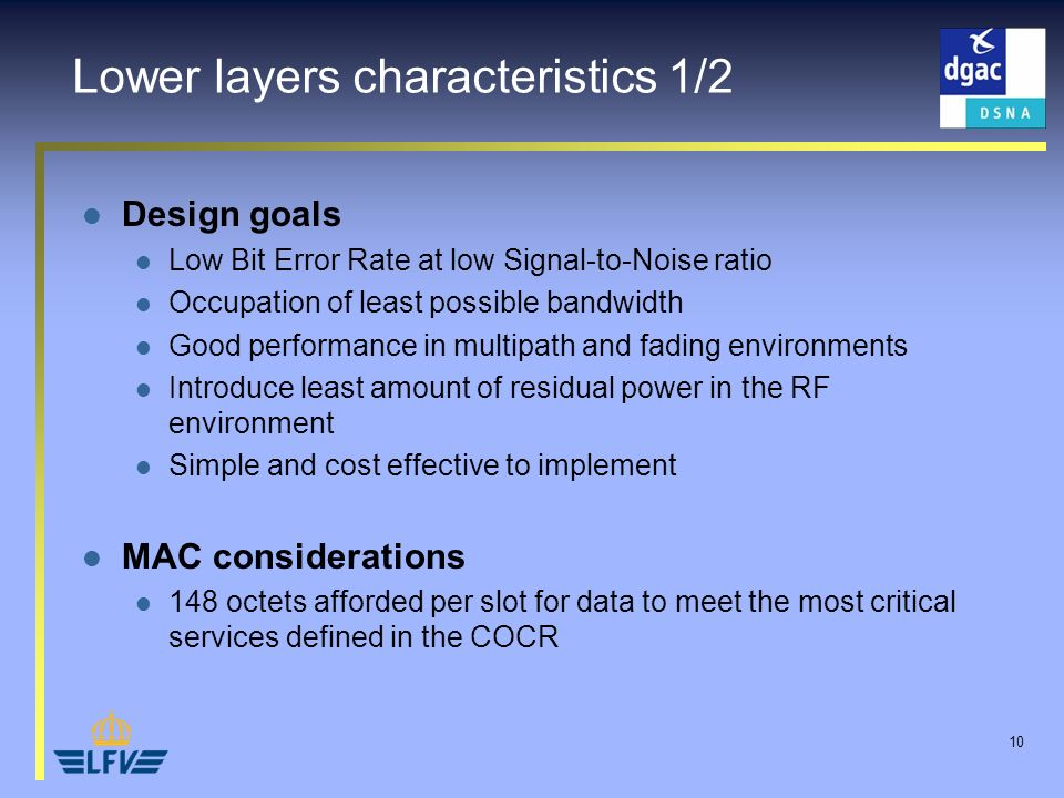 10 Design goals Low Bit Error Rate at low Signal-to-Noise ratio Occupation of least possible bandwidth Good performance in multipath and fading environments Introduce least amount of residual power in the RF environment Simple and cost effective to implement MAC considerations 148 octets afforded per slot for data to meet the most critical services defined in the COCR Lower layers characteristics 1/2