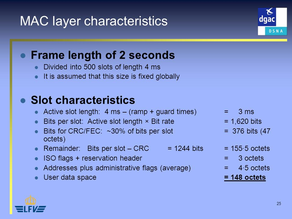 25 MAC layer characteristics Frame length of 2 seconds Divided into 500 slots of length 4 ms It is assumed that this size is fixed globally Slot chara