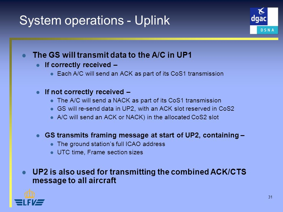 31 System operations - Uplink The GS will transmit data to the A/C in UP1 If correctly received – Each A/C will send an ACK as part of its CoS1 transm