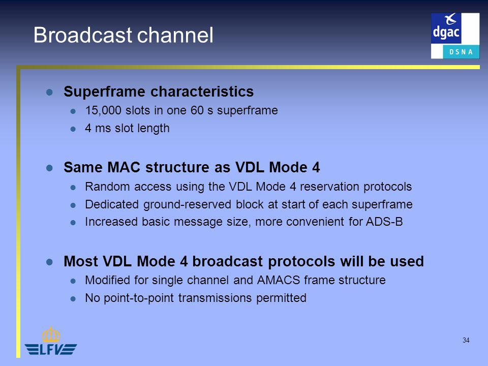 34 Broadcast channel Superframe characteristics 15,000 slots in one 60 s superframe 4 ms slot length Same MAC structure as VDL Mode 4 Random access us