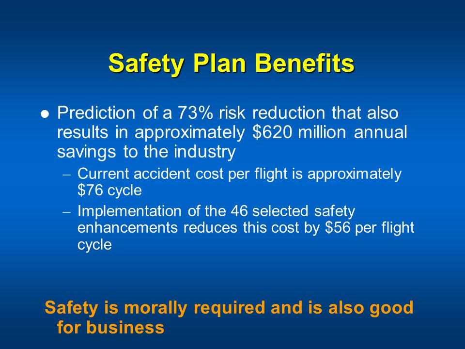 Safety Plan Benefits Prediction of a 73% risk reduction that also results in approximately $620 million annual savings to the industry – Current accid