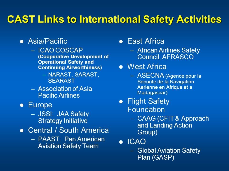 CAST Links to International Safety Activities Asia/Pacific –ICAO COSCAP (Cooperative Development of Operational Safety and Continuing Airworthiness) –