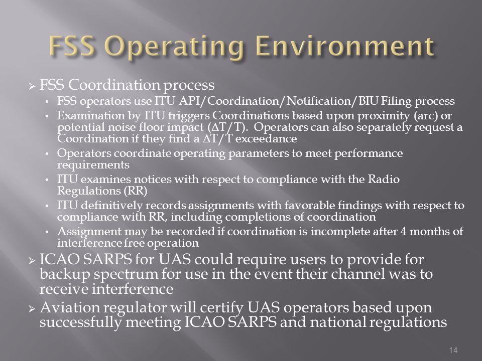 FSS Coordination process FSS operators use ITU API/Coordination/Notification/BIU Filing process Examination by ITU triggers Coordinations based upon p