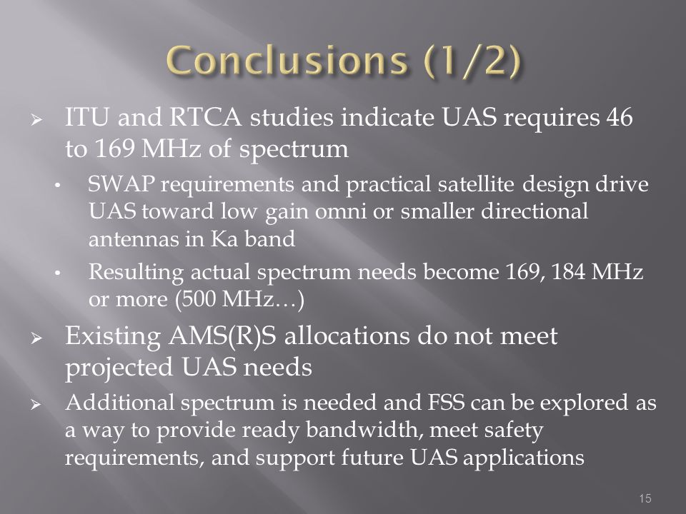 ITU and RTCA studies indicate UAS requires 46 to 169 MHz of spectrum SWAP requirements and practical satellite design drive UAS toward low gain omni or smaller directional antennas in Ka band Resulting actual spectrum needs become 169, 184 MHz or more (500 MHz…) Existing AMS(R)S allocations do not meet projected UAS needs Additional spectrum is needed and FSS can be explored as a way to provide ready bandwidth, meet safety requirements, and support future UAS applications 15