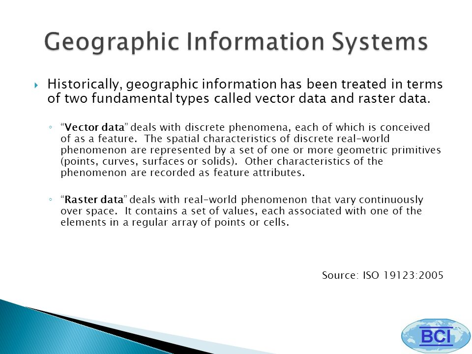 Historically, geographic information has been treated in terms of two fundamental types called vector data and raster data. Vector data deals with dis