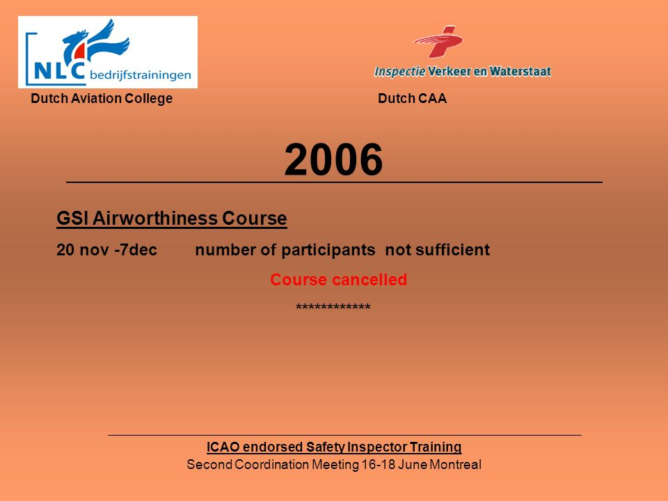 2006 ICAO endorsed Safety Inspector Training Second Coordination Meeting 16-18 June Montreal Dutch Aviation CollegeDutch CAA GSI Airworthiness Course