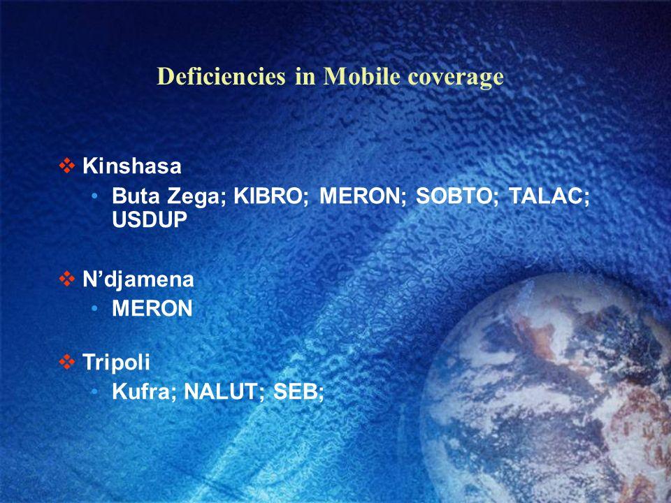 Deficiencies in Mobile coverage Abidjan MISLA Luanda Alger ATAFA; Djanet; MOKAT; NSL; RAZEL; ROFER; Khartoum ALVOR; ME; Malakal;