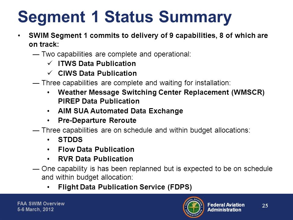 Federal Aviation Administration FAA SWIM Overview 5-6 March, 2012 Segment 1 Status Summary SWIM Segment 1 commits to delivery of 9 capabilities, 8 of