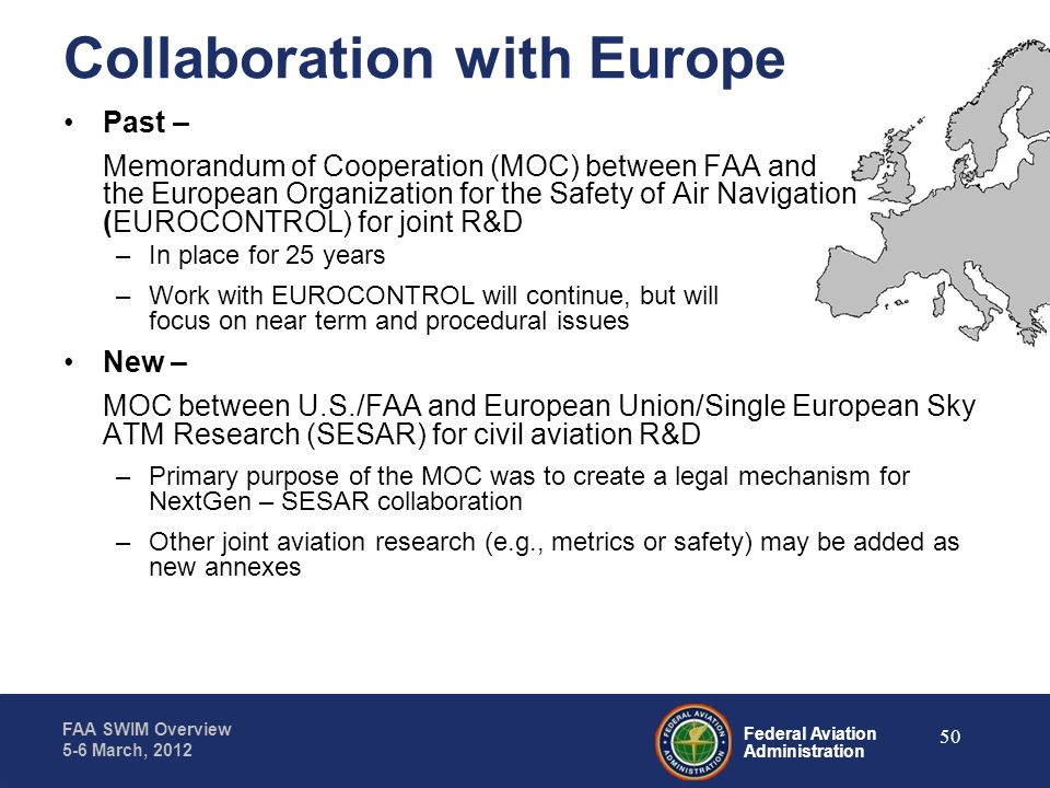 Federal Aviation Administration FAA SWIM Overview 5-6 March, 2012 Collaboration with Europe Past – Memorandum of Cooperation (MOC) between FAA and the