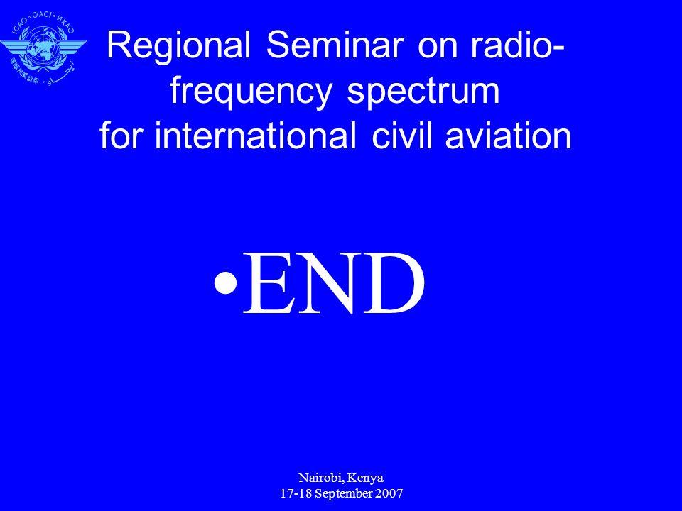 Nairobi, Kenya 17-18 September 2007 Regional Seminar on radio- frequency spectrum for international civil aviation END