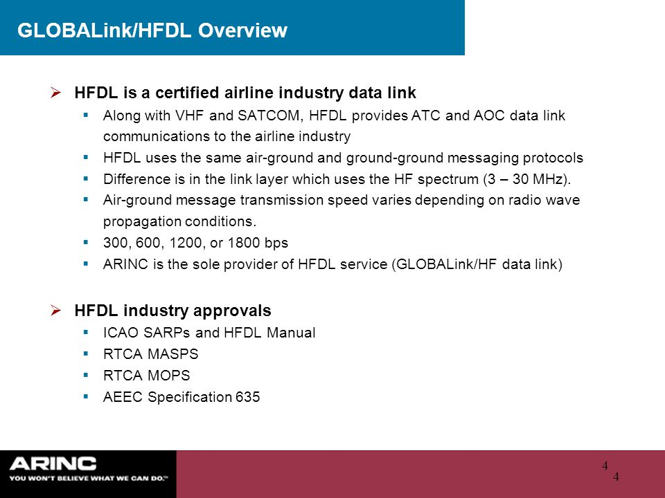 4 4 GLOBALink/HFDL Overview HFDL is a certified airline industry data link Along with VHF and SATCOM, HFDL provides ATC and AOC data link communicatio