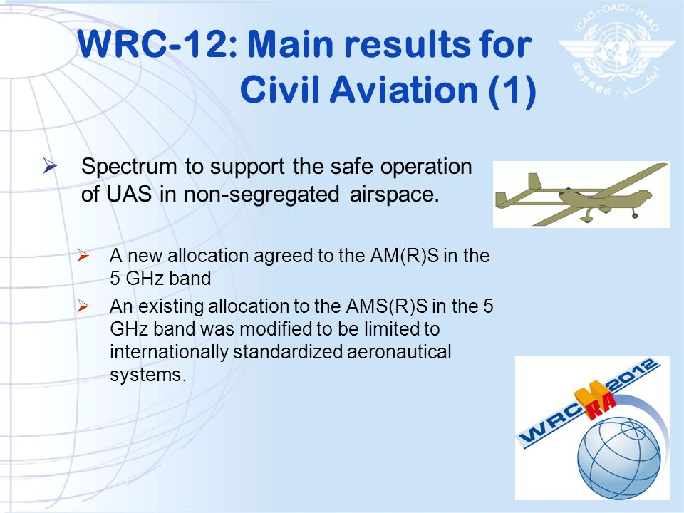 Spectrum to support the safe operation of UAS in non-segregated airspace. A new allocation agreed to the AM(R)S in the 5 GHz band An existing allocati