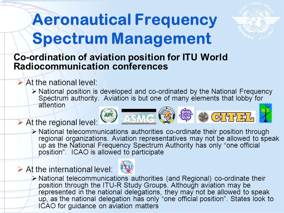 Aeronautical Frequency Spectrum Management A slide borrowed from Industry Canada shows a good example of the many special interest groups represented in any national position.