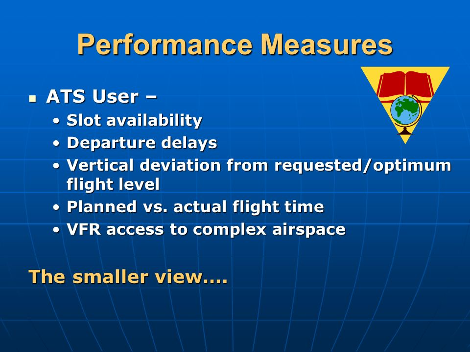 Performance Measures ATS User – ATS User – Slot availabilitySlot availability Departure delaysDeparture delays Vertical deviation from requested/optimum flight levelVertical deviation from requested/optimum flight level Planned vs.
