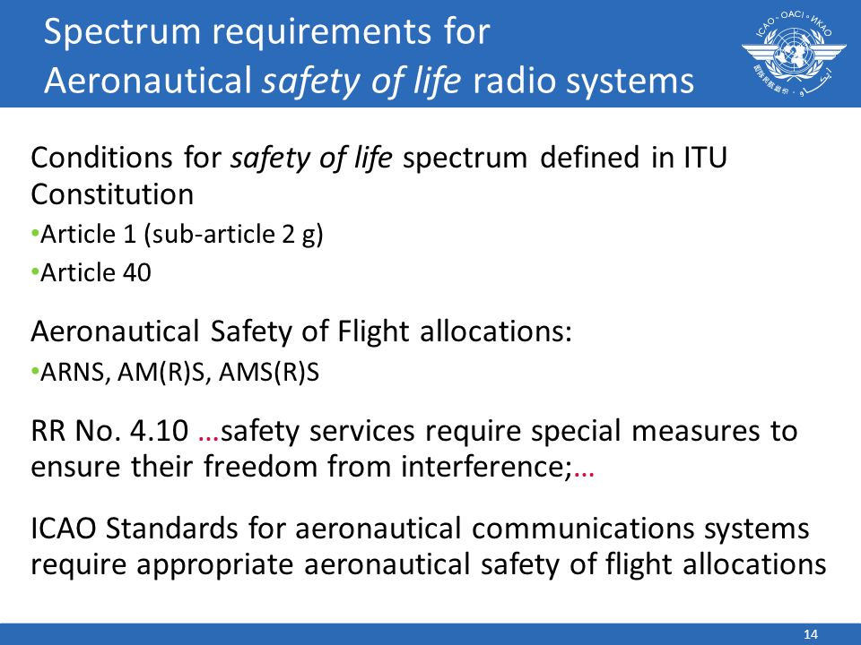 14 Spectrum requirements for Aeronautical safety of life radio systems Conditions for safety of life spectrum defined in ITU Constitution Article 1 (sub-article 2 g) Article 40 Aeronautical Safety of Flight allocations: ARNS, AM(R)S, AMS(R)S RR No.