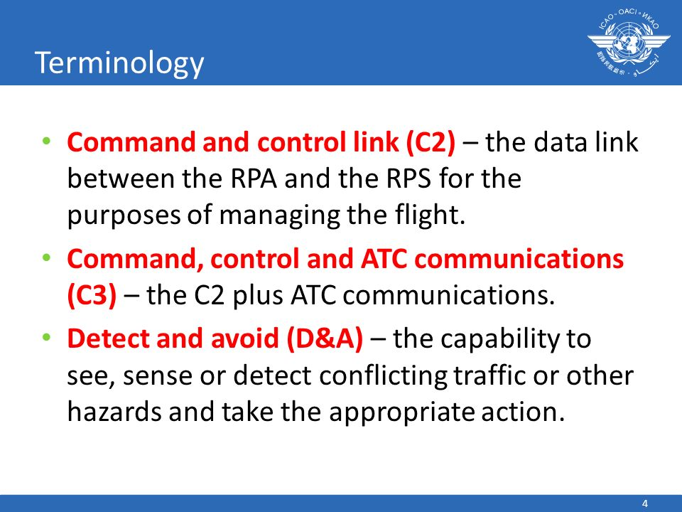 4 Terminology Command and control link (C2) – the data link between the RPA and the RPS for the purposes of managing the flight. Command, control and