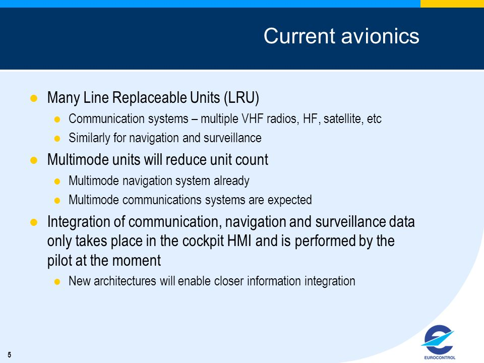 5 Current avionics Many Line Replaceable Units (LRU) Communication systems – multiple VHF radios, HF, satellite, etc Similarly for navigation and surv