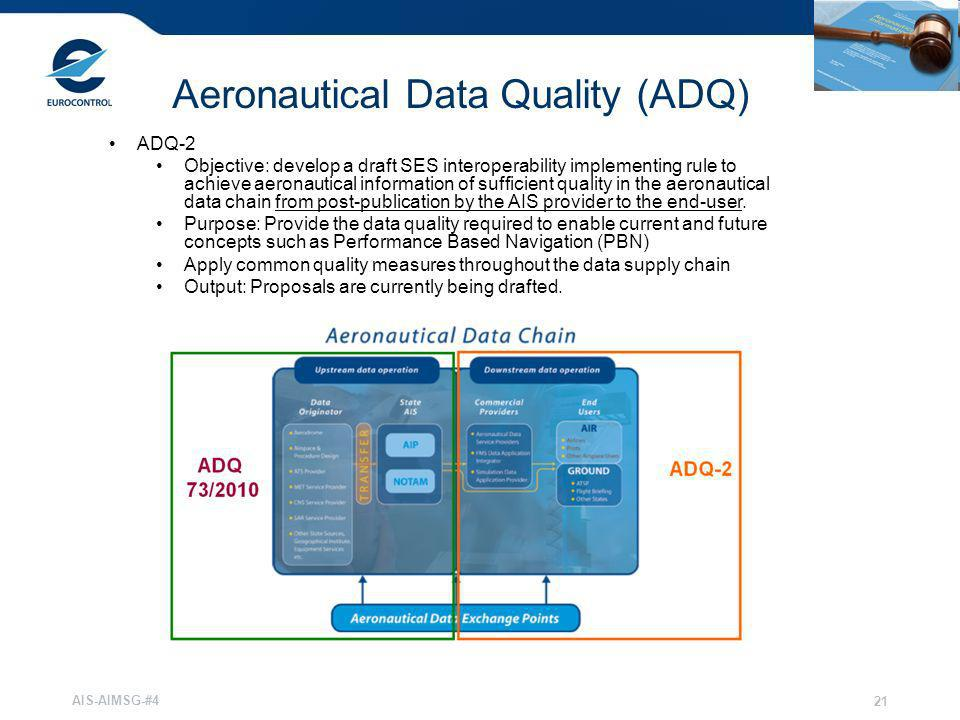 AIS-AIMSG-#4 21 Aeronautical Data Quality (ADQ) ADQ-2 Objective: develop a draft SES interoperability implementing rule to achieve aeronautical inform