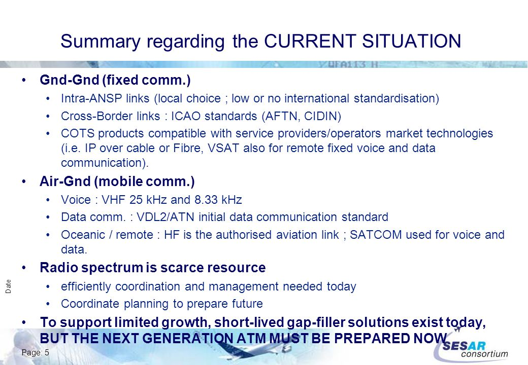 Page: 5 Date Summary regarding the CURRENT SITUATION Gnd-Gnd (fixed comm.) Intra-ANSP links (local choice ; low or no international standardisation) Cross-Border links : ICAO standards (AFTN, CIDIN) COTS products compatible with service providers/operators market technologies (i.e.