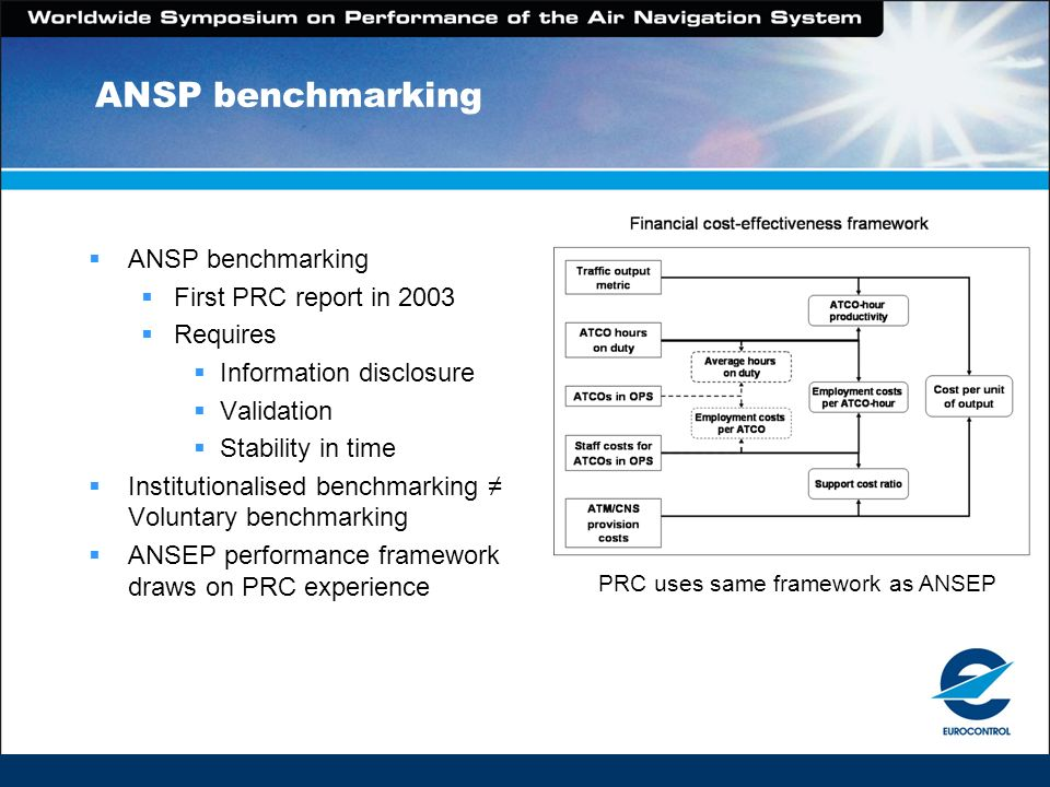 ANSP benchmarking First PRC report in 2003 Requires Information disclosure Validation Stability in time Institutionalised benchmarking Voluntary benchmarking ANSEP performance framework draws on PRC experience PRC uses same framework as ANSEP