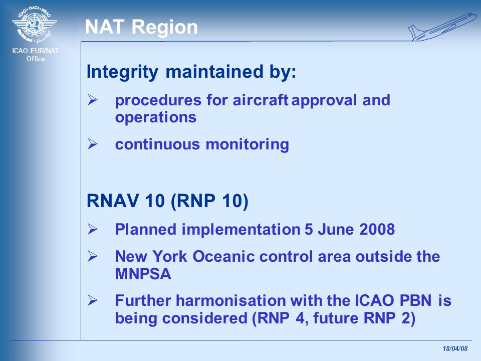 ICAO EUR/NAT Office 18/04/08 EUR Region B-RNAV (Basic RNAV) implemented 23 April 1998 mandatory as the primary means of navigation in the majority of the en-route airspace Identical to the RNAV 5 specification in ICAO PBN Manual All new approvals/implementations should be RNAV 5
