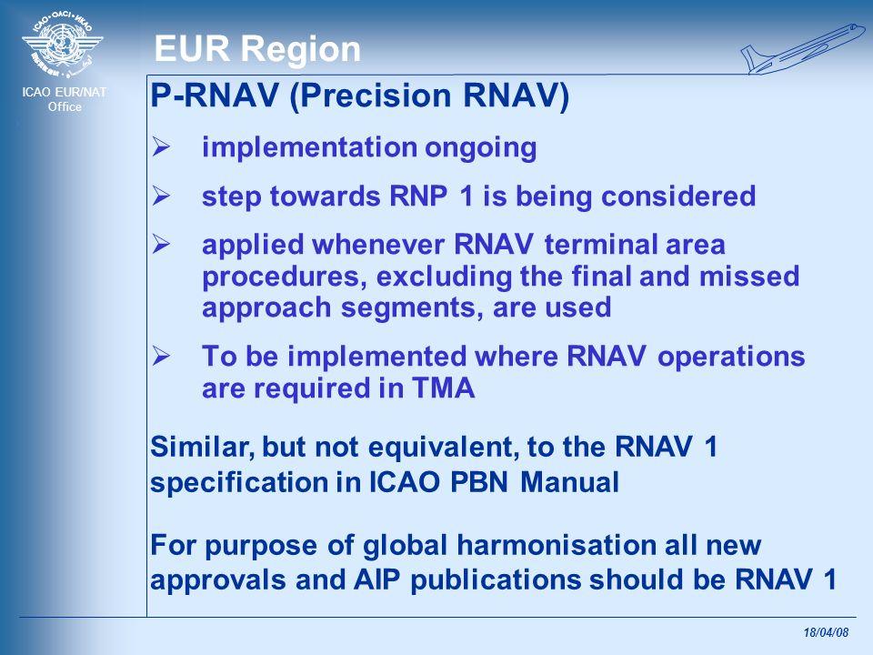 ICAO EUR/NAT Office 18/04/08 EUR Region P-RNAV (Precision RNAV) implementation ongoing step towards RNP 1 is being considered applied whenever RNAV te