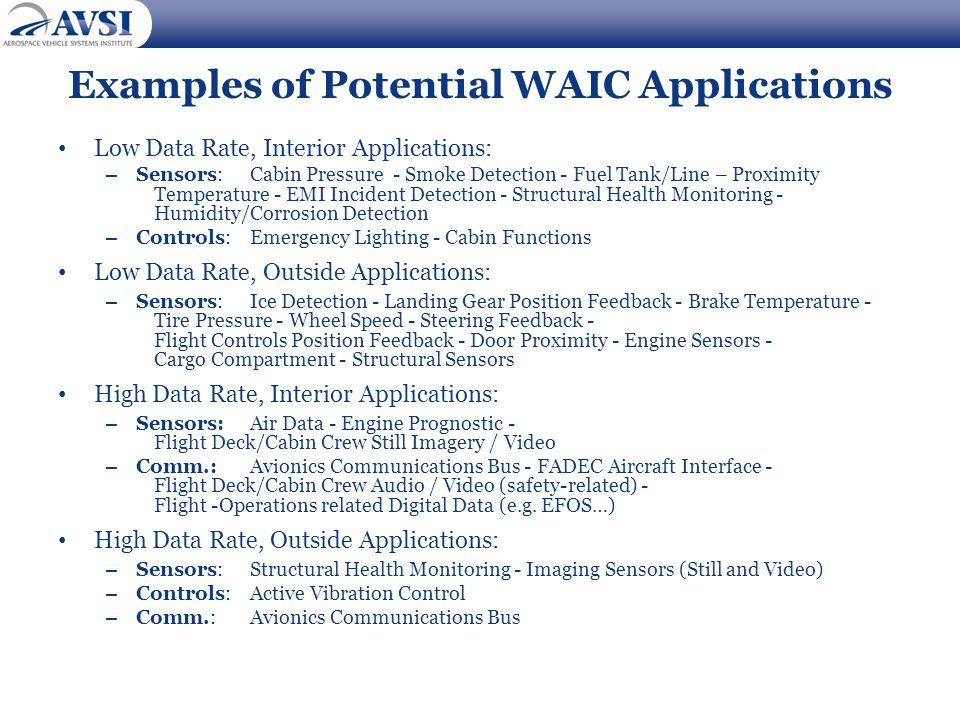Examples of Potential WAIC Applications Low Data Rate, Interior Applications: – Sensors: Cabin Pressure - Smoke Detection - Fuel Tank/Line – Proximity