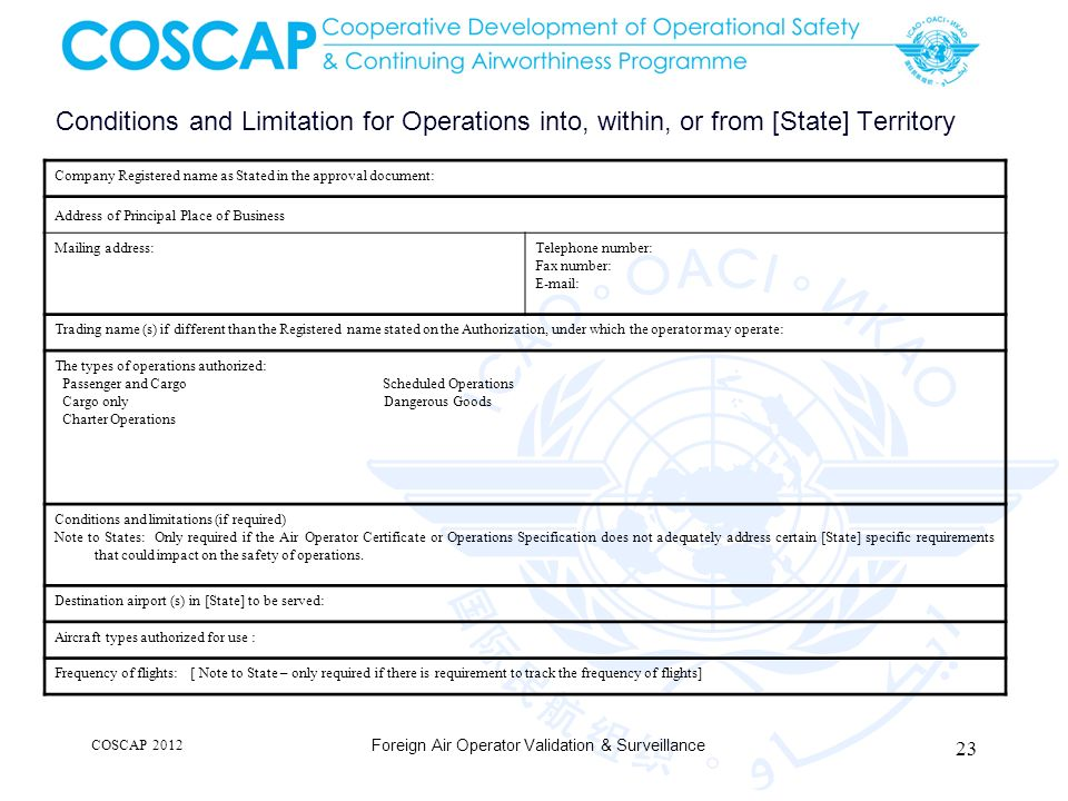 Conditions and Limitation for Operations into, within, or from [State] Territory Company Registered name as Stated in the approval document: Address o