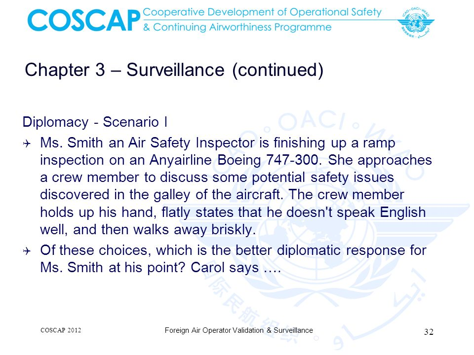 Chapter 3 – Surveillance (continued) Diplomacy - Scenario I Ms. Smith an Air Safety Inspector is finishing up a ramp inspection on an Anyairline Boein
