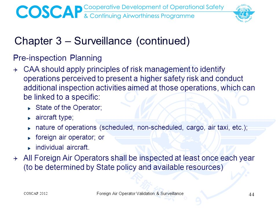Chapter 3 – Surveillance (continued) Pre-inspection Planning CAA should apply principles of risk management to identify operations perceived to presen