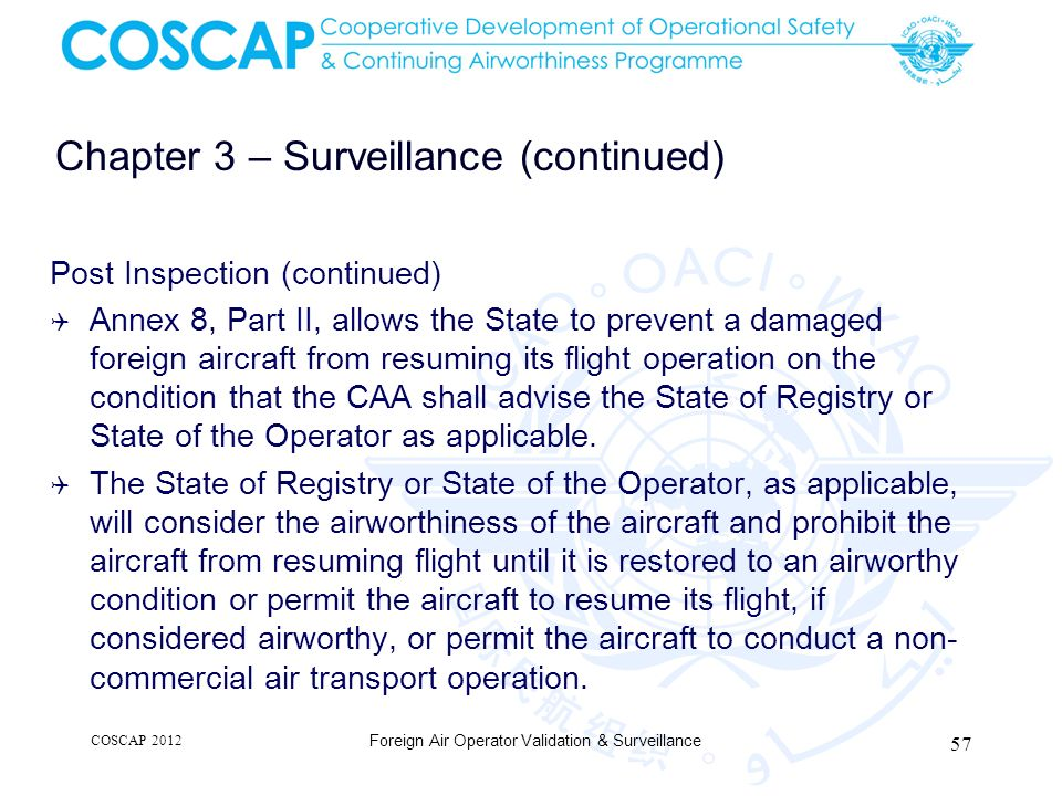 Chapter 3 – Surveillance (continued) Post Inspection (continued) Annex 8, Part II, allows the State to prevent a damaged foreign aircraft from resumin