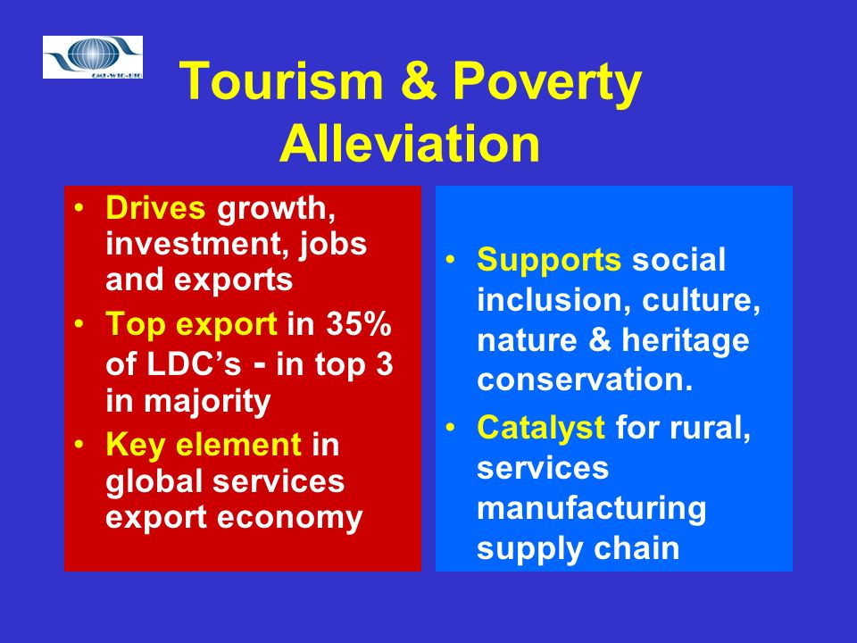Tourism & Poverty Alleviation Drives growth, investment, jobs and exports Top export in 35% of LDCs - in top 3 in majority Key element in global services export economy Supports social inclusion, culture, nature & heritage conservation.