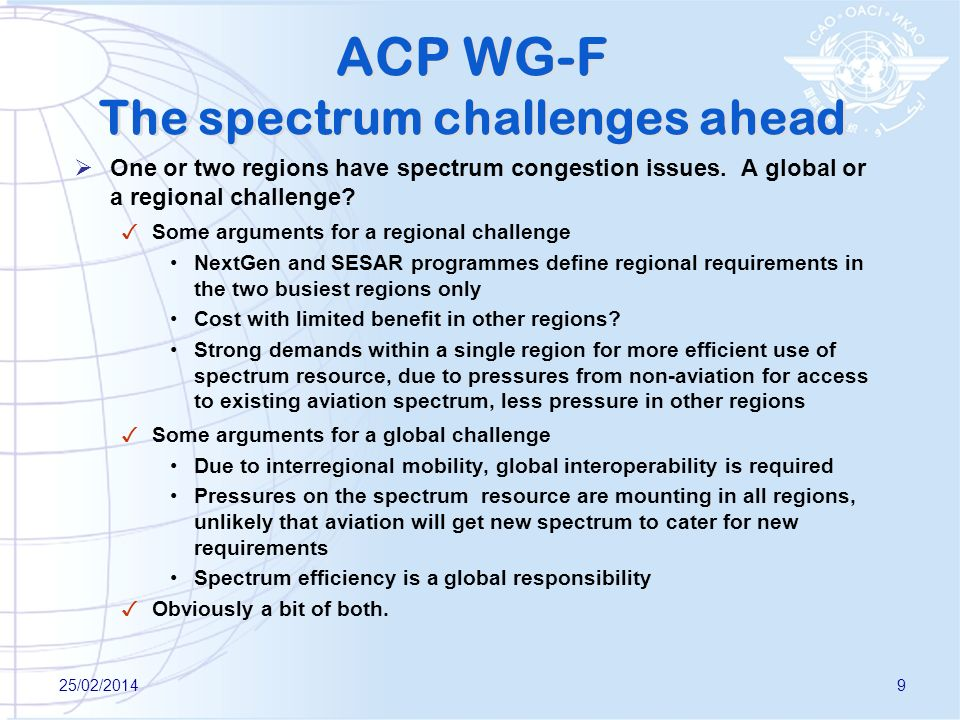 ACP WG-F The spectrum challenges ahead One or two regions have spectrum congestion issues.