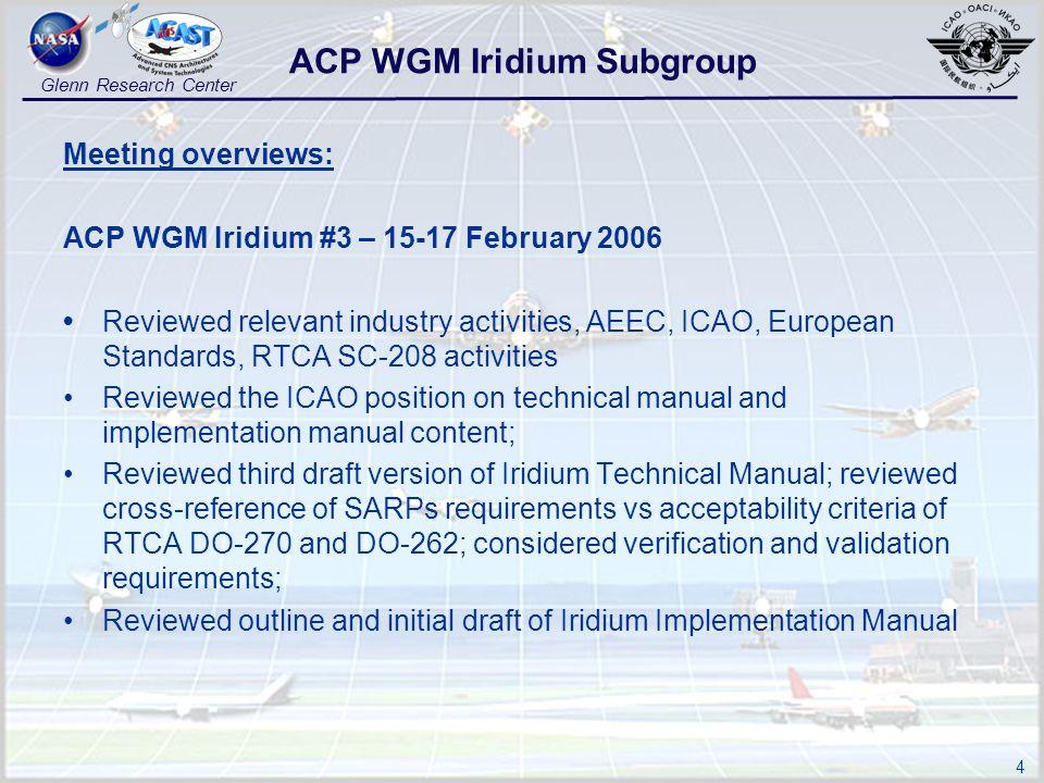4 Glenn Research Center Meeting overviews: ACP WGM Iridium #3 – 15-17 February 2006 Reviewed relevant industry activities, AEEC, ICAO, European Standa