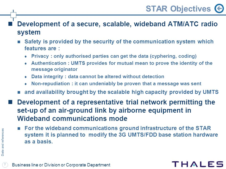 7 Date and references Business line or Division or Corporate Department STAR Objectives Development of a secure, scalable, wideband ATM/ATC radio syst