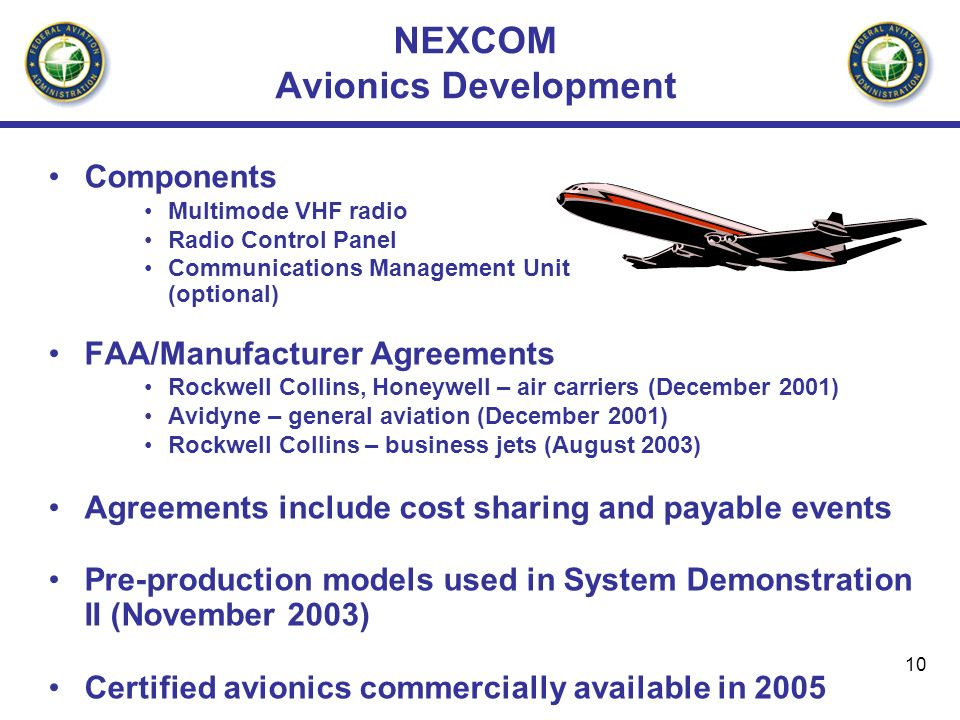 10 NEXCOM Avionics Development Components Multimode VHF radio Radio Control Panel Communications Management Unit (optional) FAA/Manufacturer Agreements Rockwell Collins, Honeywell – air carriers (December 2001) Avidyne – general aviation (December 2001) Rockwell Collins – business jets (August 2003) Agreements include cost sharing and payable events Pre-production models used in System Demonstration II (November 2003) Certified avionics commercially available in 2005