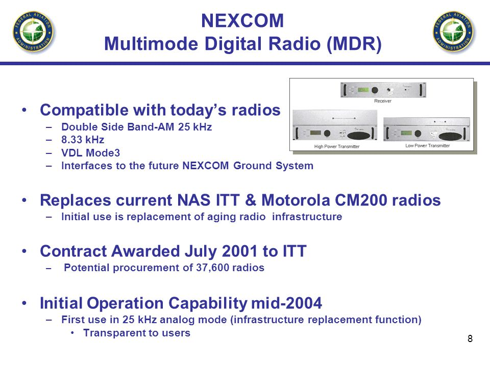 8 NEXCOM Multimode Digital Radio (MDR) Compatible with todays radios –Double Side Band-AM 25 kHz –8.33 kHz –VDL Mode3 –Interfaces to the future NEXCOM Ground System Replaces current NAS ITT & Motorola CM200 radios –Initial use is replacement of aging radio infrastructure Contract Awarded July 2001 to ITT – Potential procurement of 37,600 radios Initial Operation Capability mid-2004 –First use in 25 kHz analog mode (infrastructure replacement function) Transparent to users