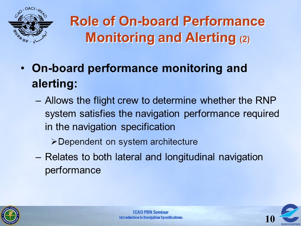 ICAO PBN Seminar Introduction to Navigation Specifications 10 Role of On-board Performance Monitoring and Alerting (2) On-board performance monitoring