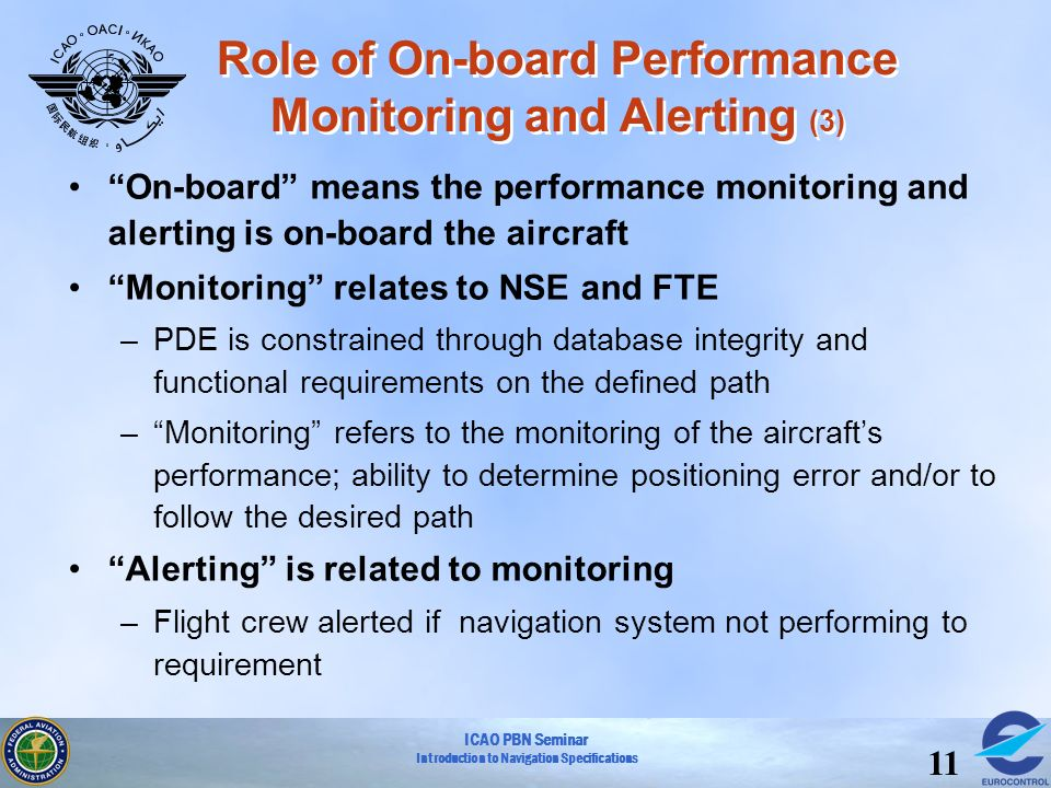 ICAO PBN Seminar Introduction to Navigation Specifications 11 On-board means the performance monitoring and alerting is on-board the aircraft Monitori