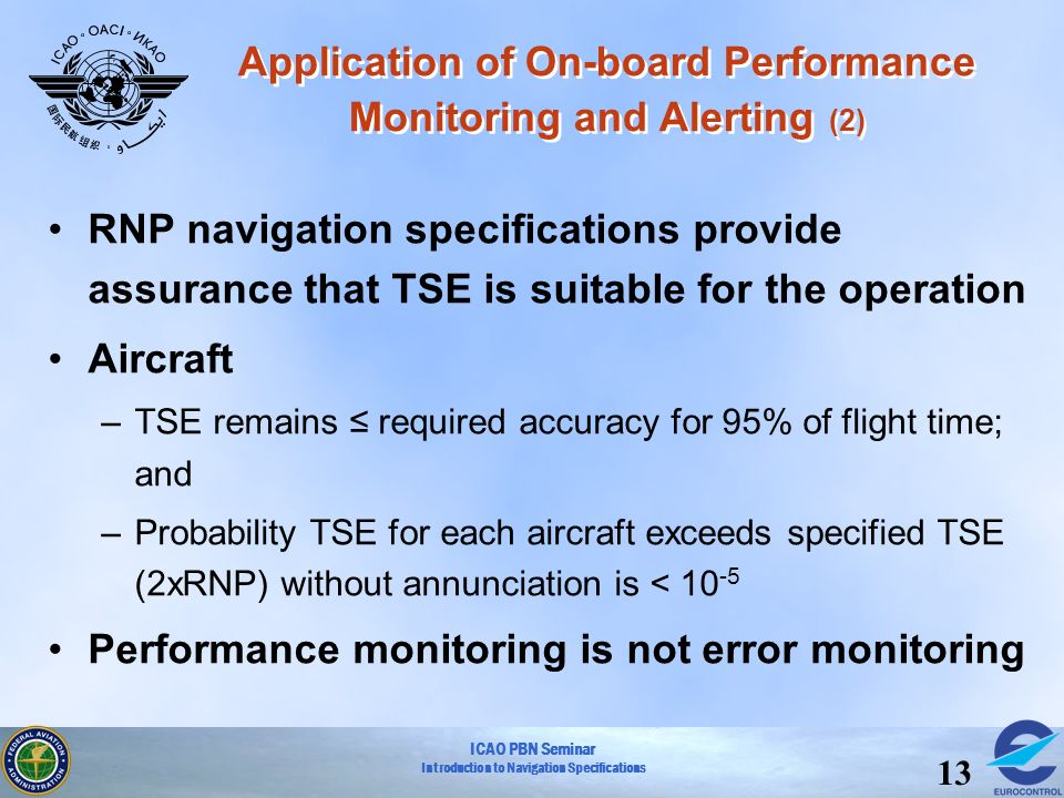 ICAO PBN Seminar Introduction to Navigation Specifications 13 Application of On-board Performance Monitoring and Alerting (2) RNP navigation specifica