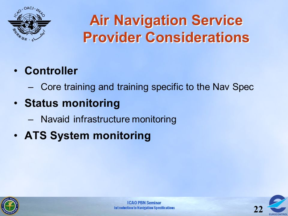 ICAO PBN Seminar Introduction to Navigation Specifications 22 Air Navigation Service Provider Considerations Controller –Core training and training sp