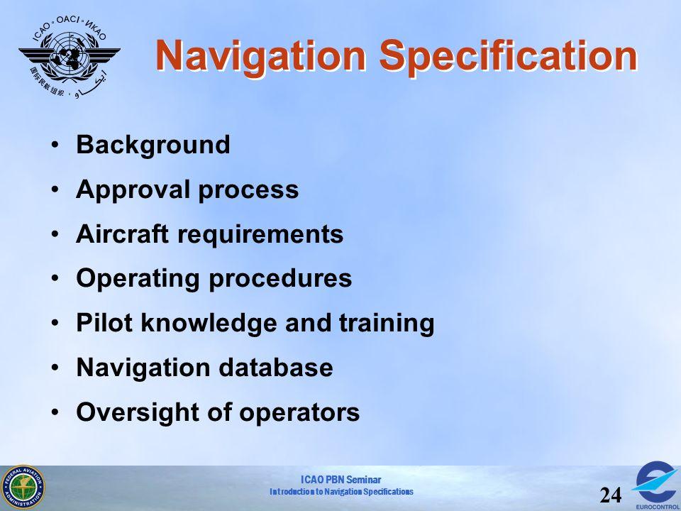 ICAO PBN Seminar Introduction to Navigation Specifications 24 Navigation Specification Background Approval process Aircraft requirements Operating pro