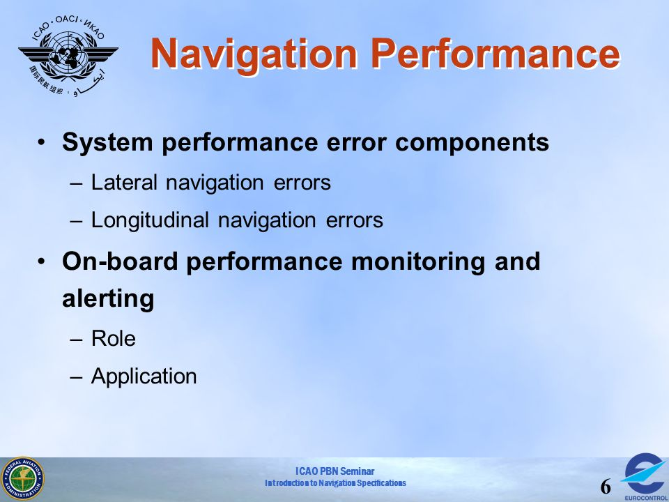 ICAO PBN Seminar Introduction to Navigation Specifications 6 Navigation Performance System performance error components –Lateral navigation errors –Lo