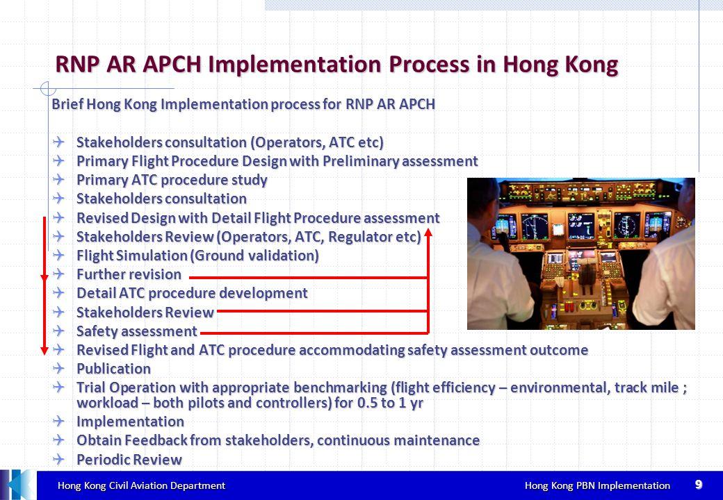 Hong Kong Civil Aviation Department Hong Kong PBN Implementation Hong Kong Civil Aviation Department Hong Kong PBN Implementation 9 RNP AR APCH Implem