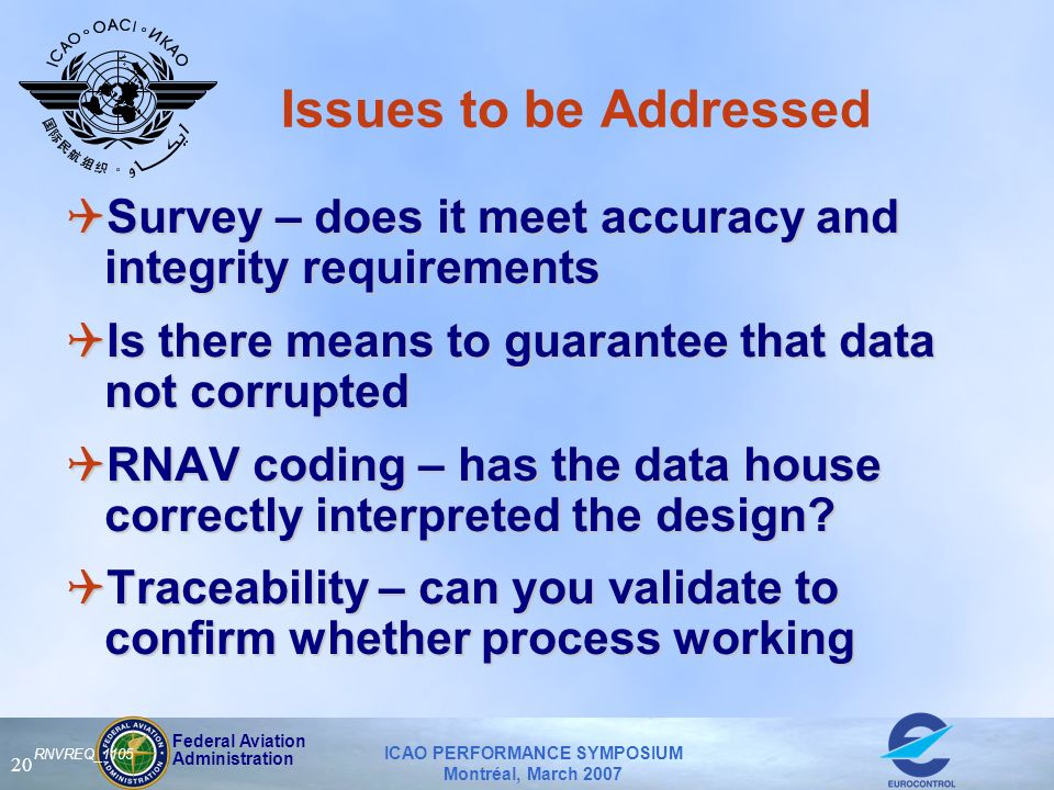 Federal Aviation Administration ICAO PERFORMANCE SYMPOSIUM Montréal, March 2007 20 RNVREQ_1105 Issues to be Addressed QSurvey – does it meet accuracy